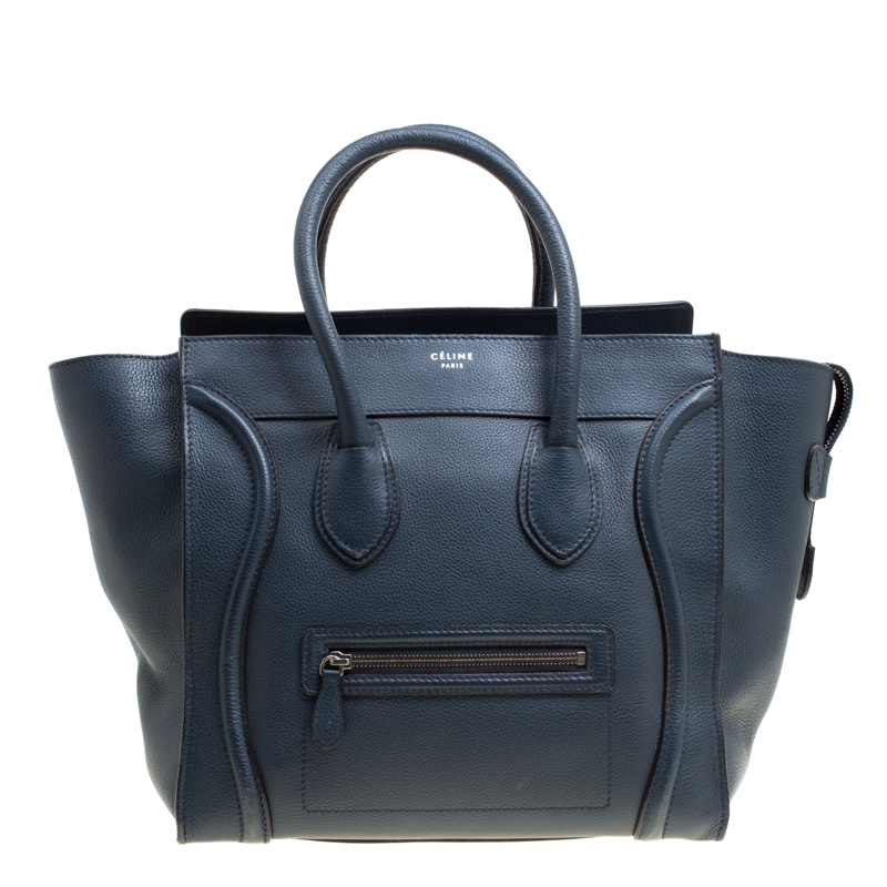 Buy Celine Navy Blue Leather Mini Luggage Tote 150193 at best price ... 1a810a0574926