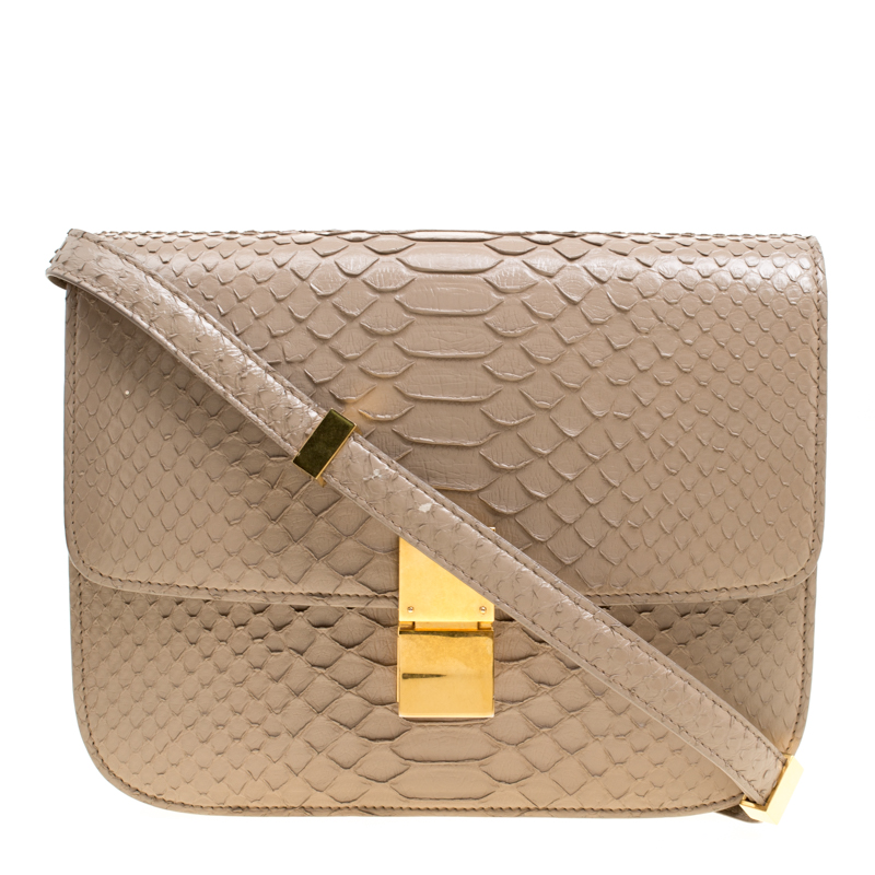 7aab81eef2b Buy Celine Beige Python Medium Classic Box Shoulder Bag 150233 at ...