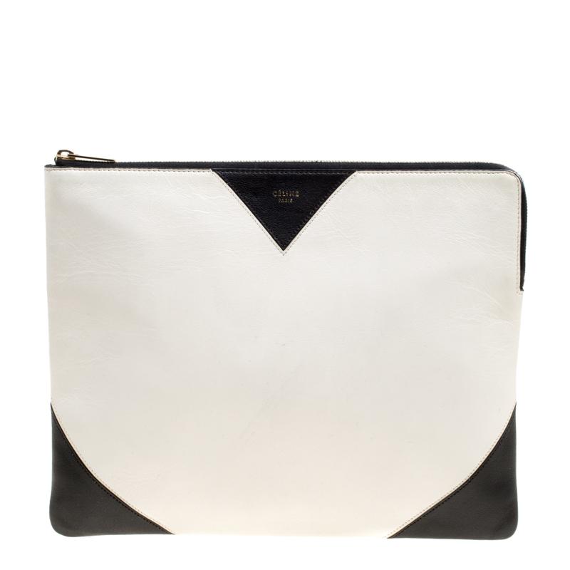 Celine White/Black Leather Large Coeur Clutch