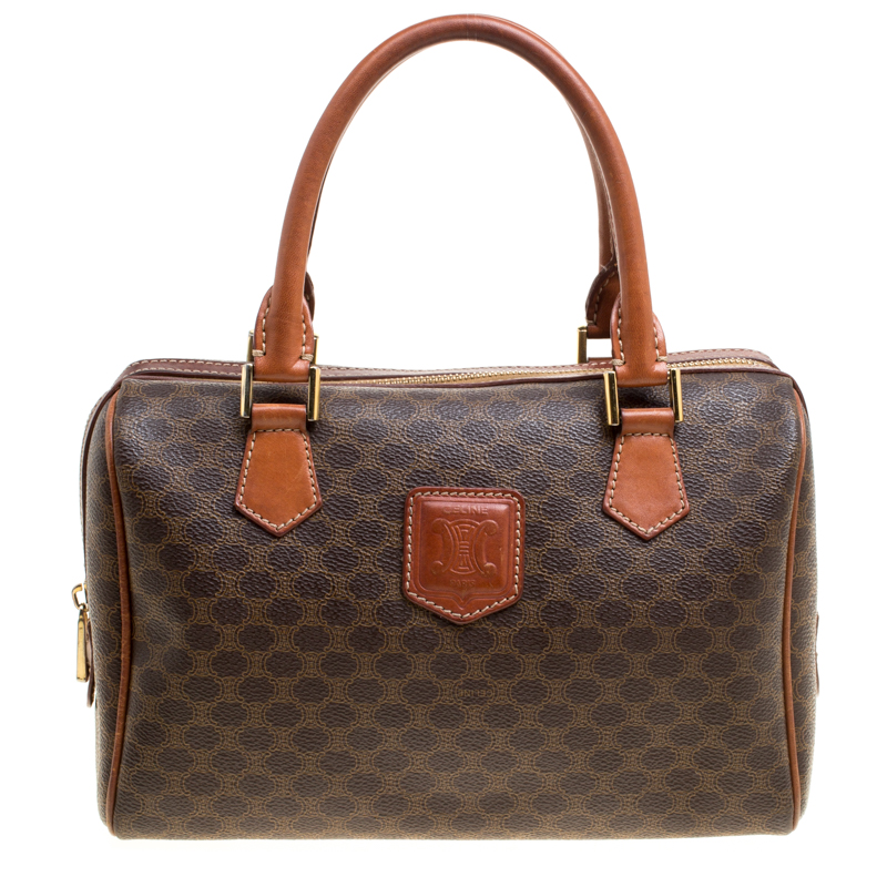 82ef3e8fbd29 Buy Céline Brown Macadam Coated Canvas Boston Bag 155961 at best ...