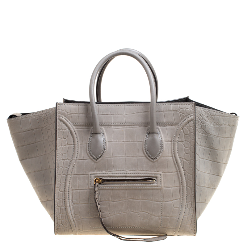 11015f6e9fdd Buy Celine Grey Croc Embossed Leather Small Phantom Luggage Tote ...