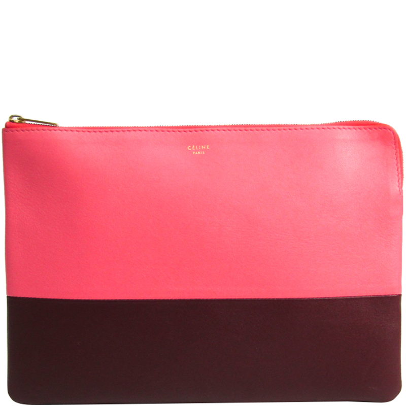 4f6326265aa1e Buy Celine Two Tone Leather Clutch Pouch 177227 at best price | TLC