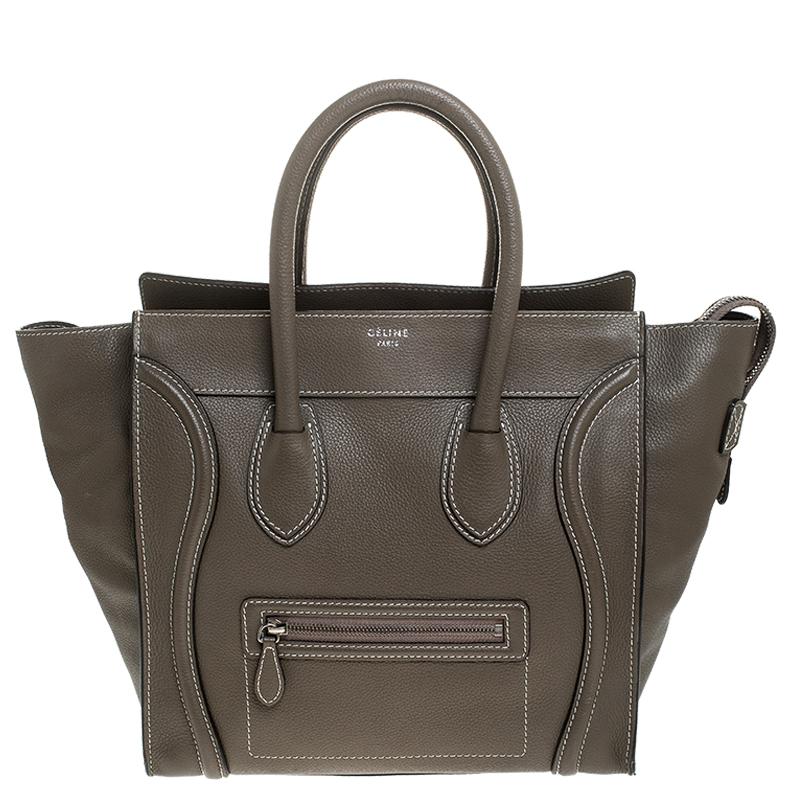 Celine Olive Green Leather Mini Luggage Tote