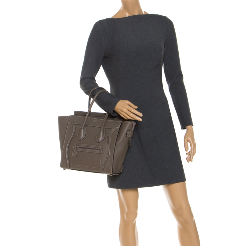 Celine Taupe Cuir Micro Bagages Fourre-Tout