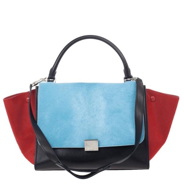 d22fd2f654f4 Buy Celine Tricolor Medium Pony Hair Trapeze Bag 25295 at best price ...