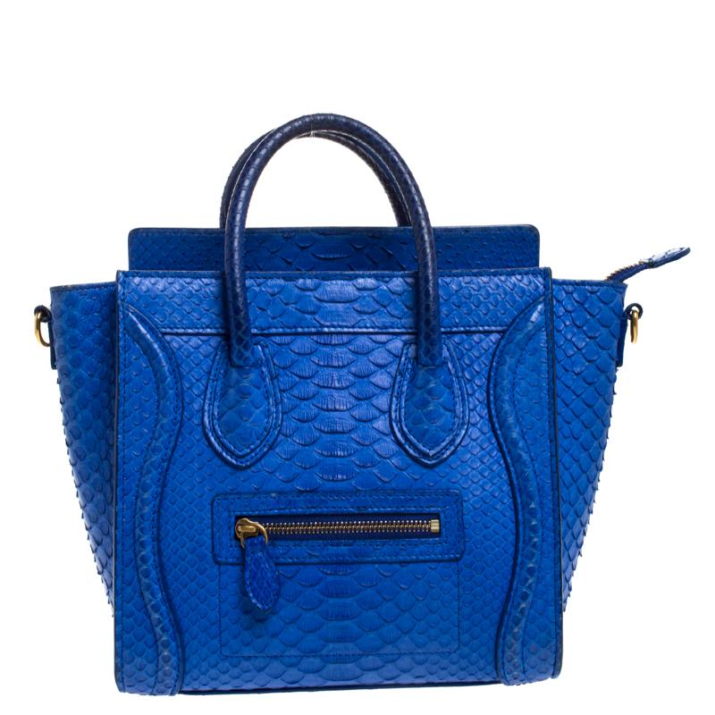Celine Blue Python Nano Luggage Tote