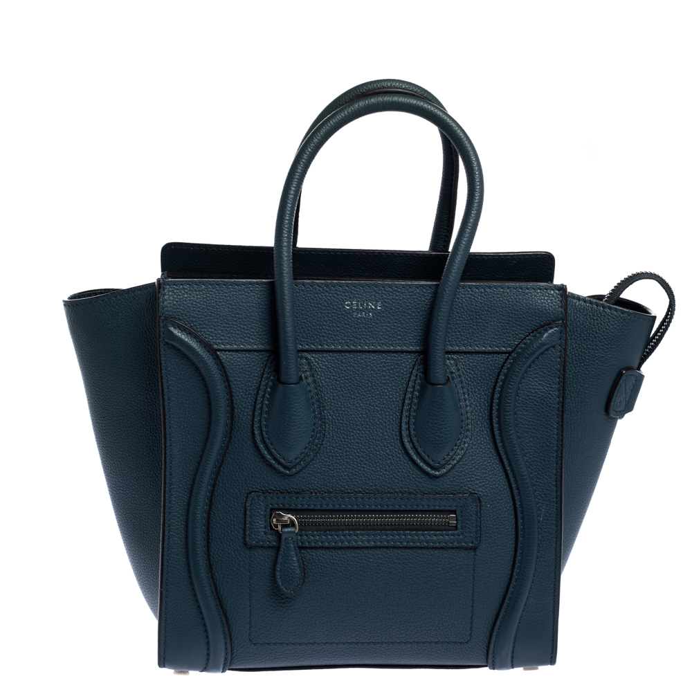 Pre-owned Celine Prussian Leather Micro Luggage Tote In Blue
