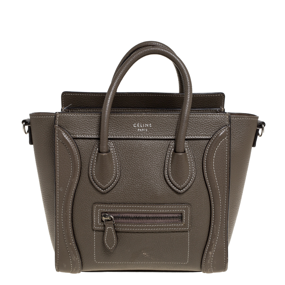 Pre-owned Celine Grey Leather Nano Luggage Tote