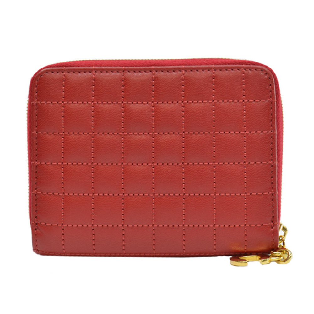 Pre-owned Celine Red Quilted Leather Zip Around Wallet