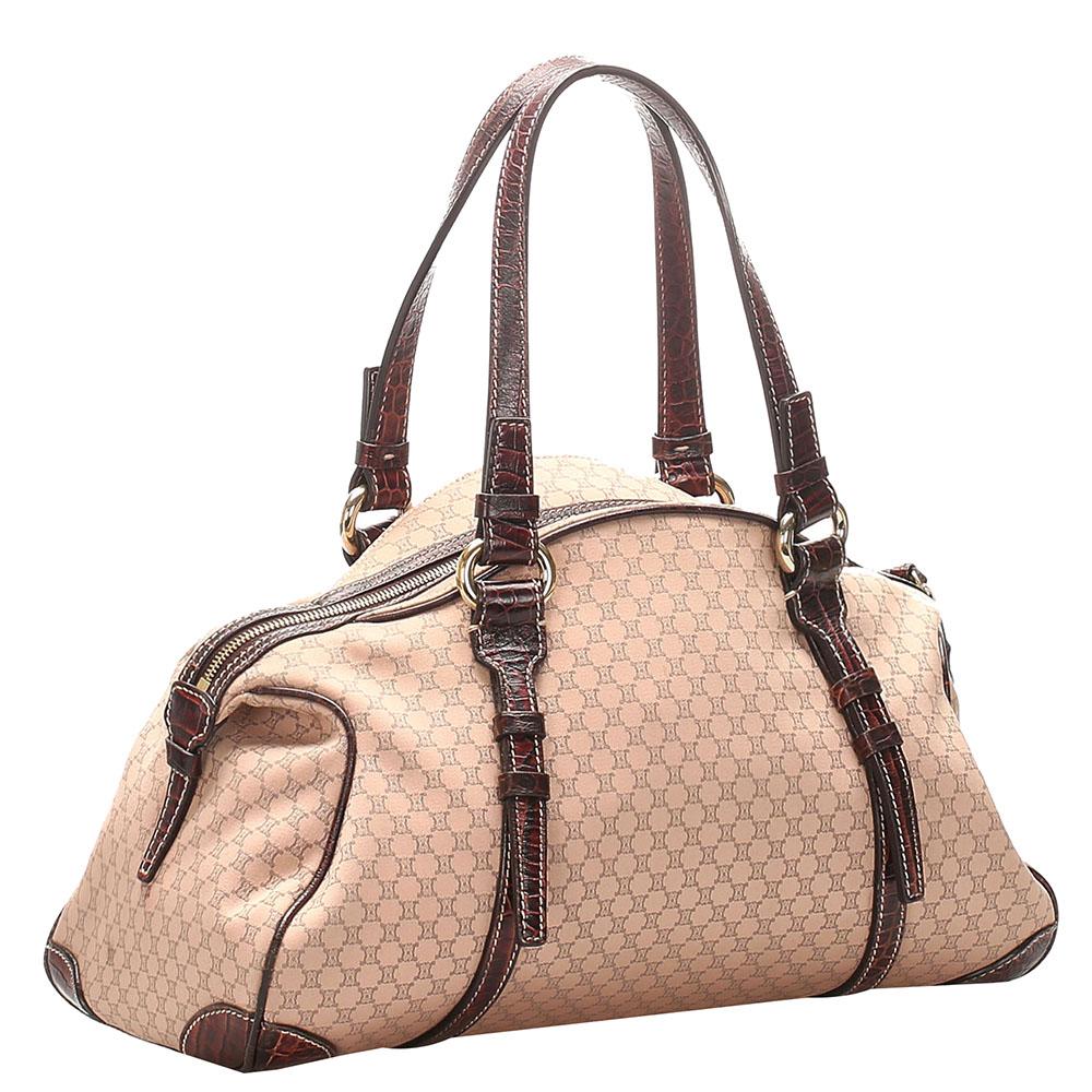 Celine Brown/Beige Canvas Leather Macadam Shoulder Bag  - buy with discount
