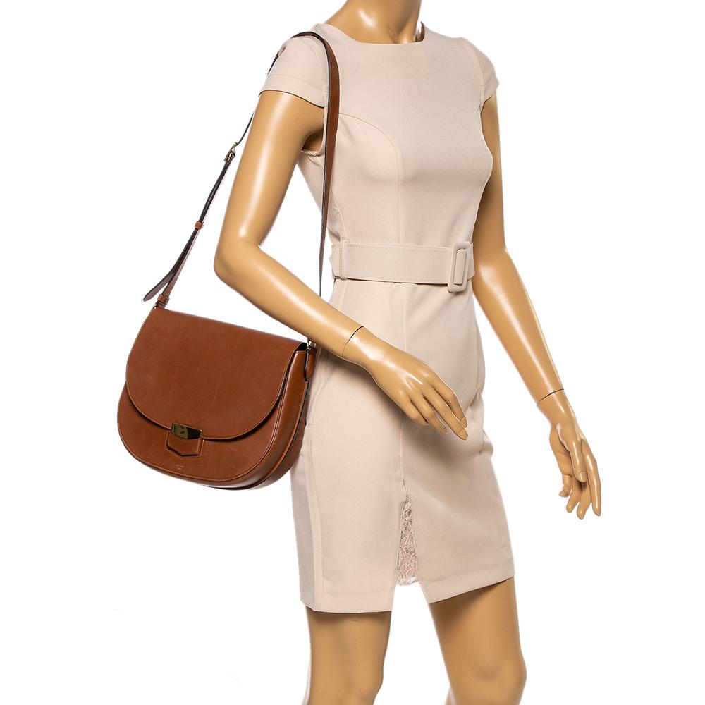 Celine Brown Leather Medium Trotteur Shoulder Bag  - buy with discount