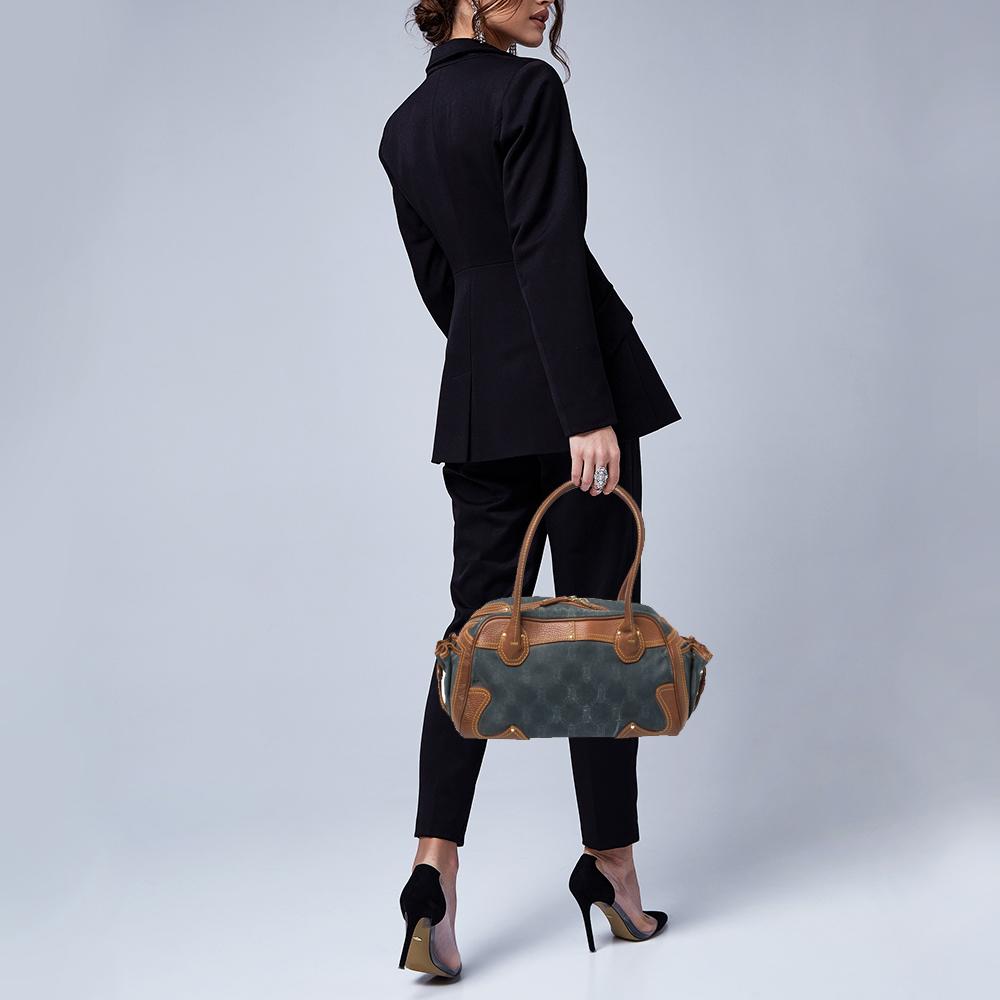 Celine Blue/Brown Macadam Denim and Leather Drawstring Pocket Satchel  - buy with discount