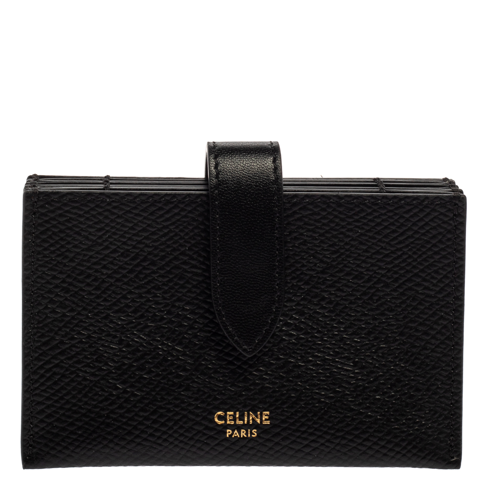 Pre-owned Celine Black Leather Accordeon Card Holder