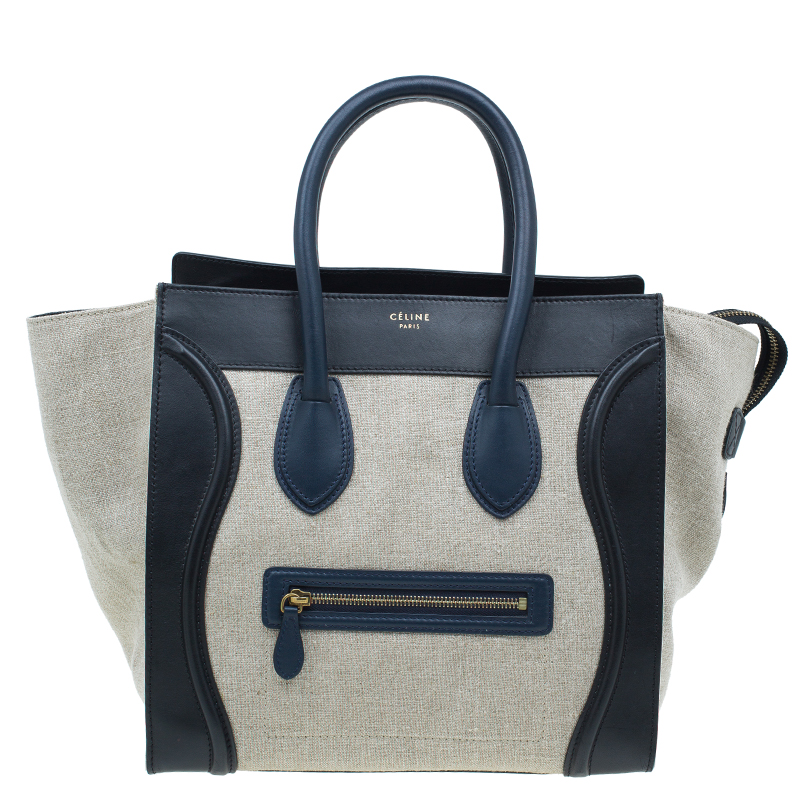 10dc7bc65825 Buy Celine Tri Color Canvas Leather Mini Luggage Tote Bag 43098 at best  price