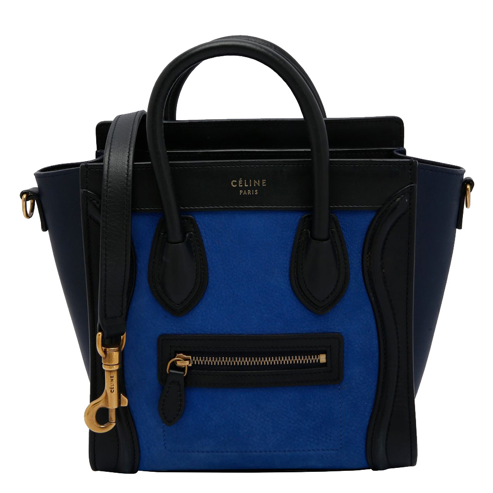 Pre-owned Celine Blue/black Leather Mini Luggage Tote Bag