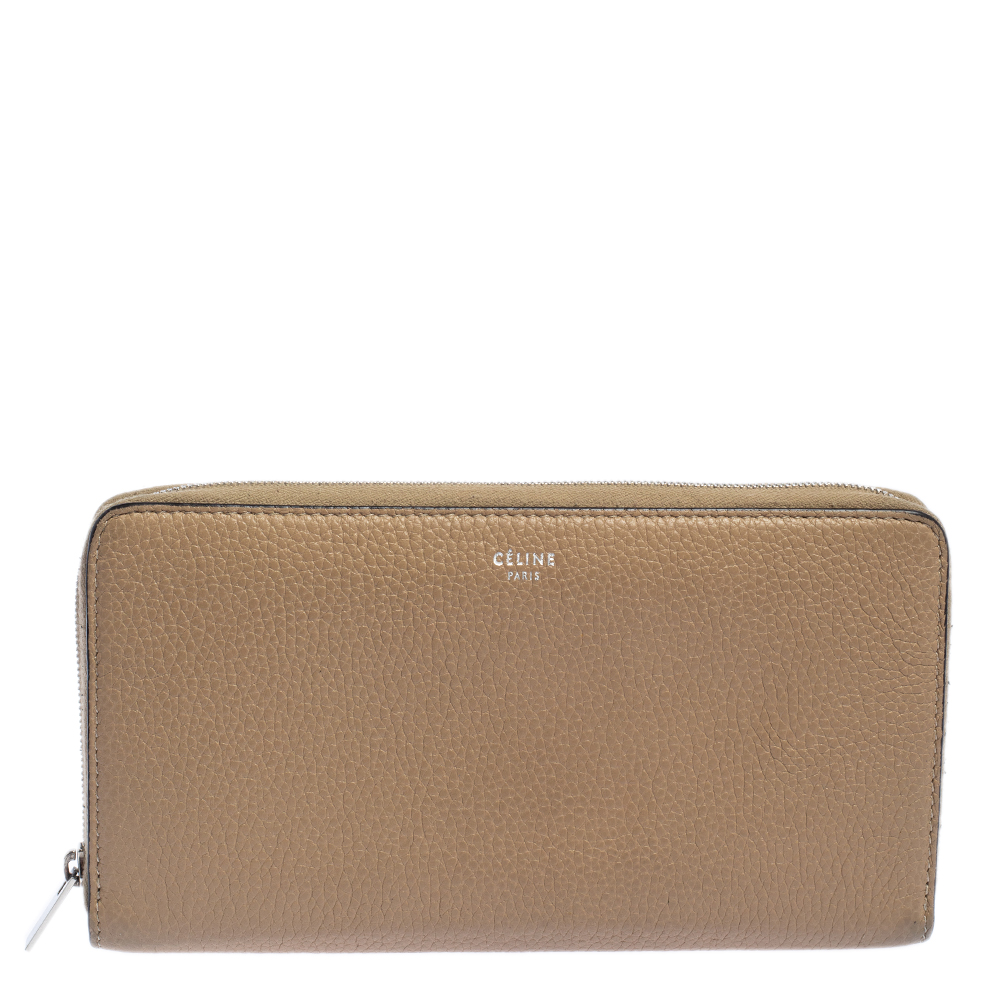 Pre-owned Celine Beige Leather Zip Around Wallet