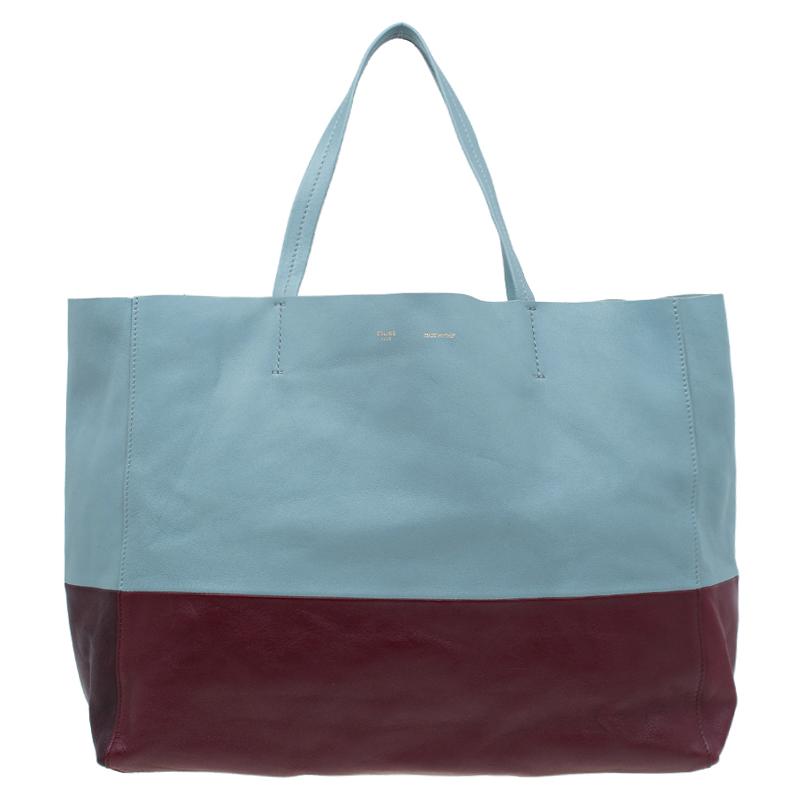 b69c08916610 Buy Celine Grey Burgundy Bicolor Leather Horizontal Cabas Tote 52241 at  best price