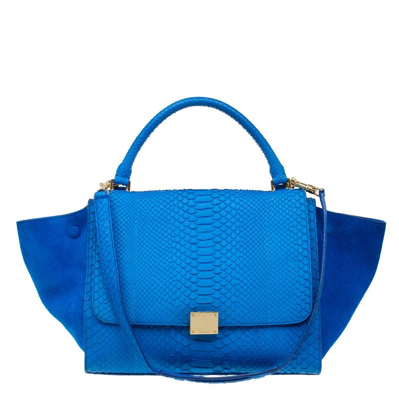 Buy Celine Blue Python Suede Medium Trapeze Bag 58708 at best price ... 9b9e87bdf55a3
