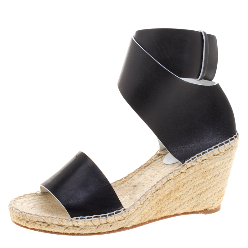 f6a0c8eb237 Celine Black Leather Espadrille Wedge Sandals Size 40