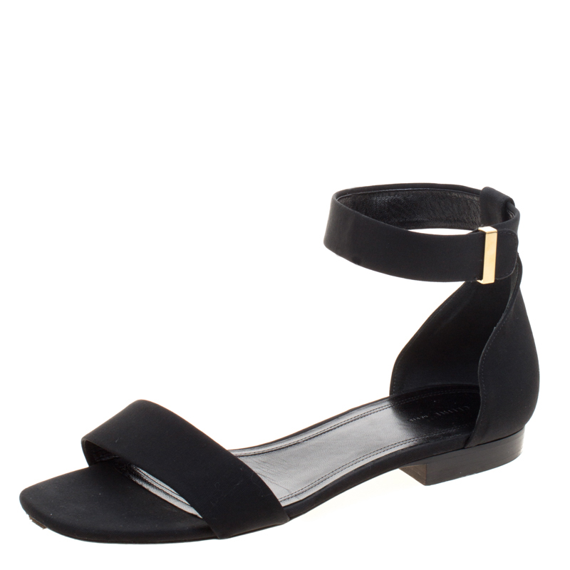 Buy Celine Black Fabric Ankle Strap Flat Sandals Size 38 119890 at ...