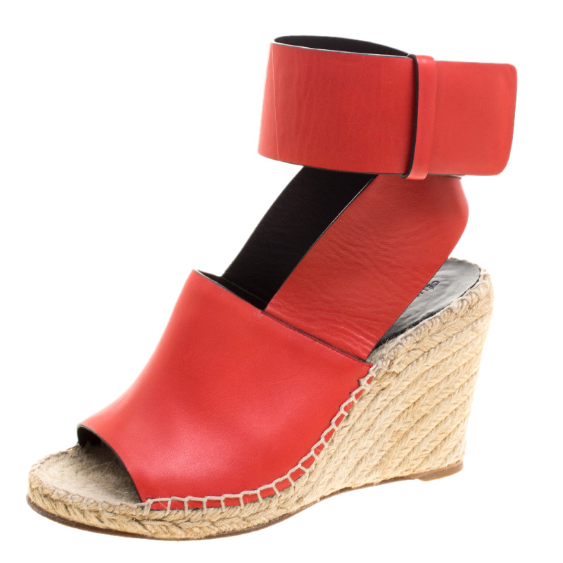 2b3760fe050c Buy Celine Red Leather Espadrille Wedge Sandals Size 38 121353 at ...