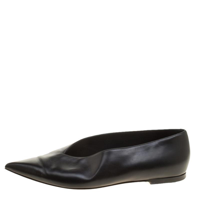 Celine Black Leather Pointed Toe Flats