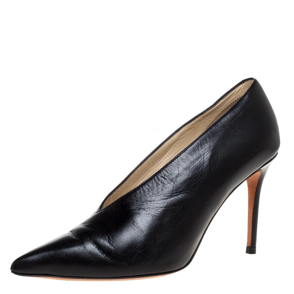 Pre-owned Celine Black Leather V-neck Pointed Toe Pumps Size 36.5
