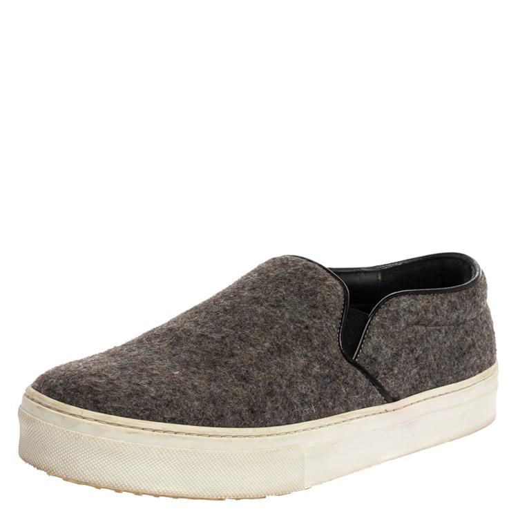 Pre-owned Celine Grey/black Wool Slip On Sneakers Size 39