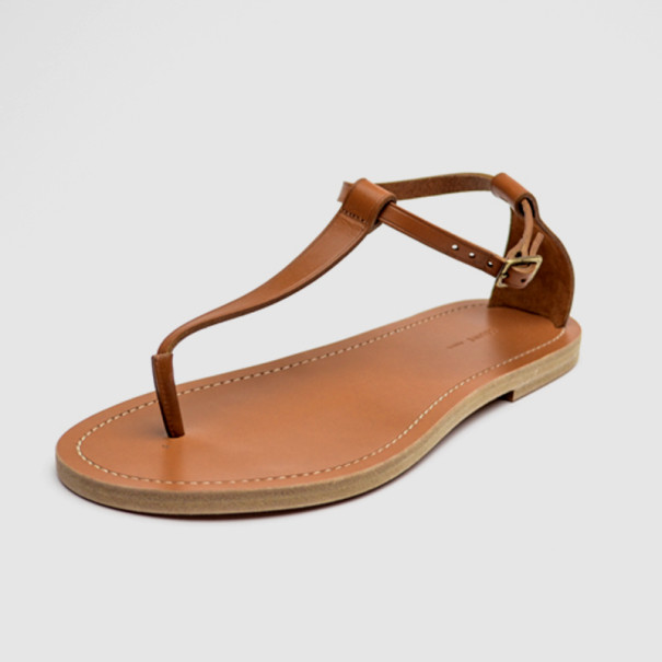 Buy Celine Brown Leather Ankle Strap Flat Sandals Size 38 33470 at best  price