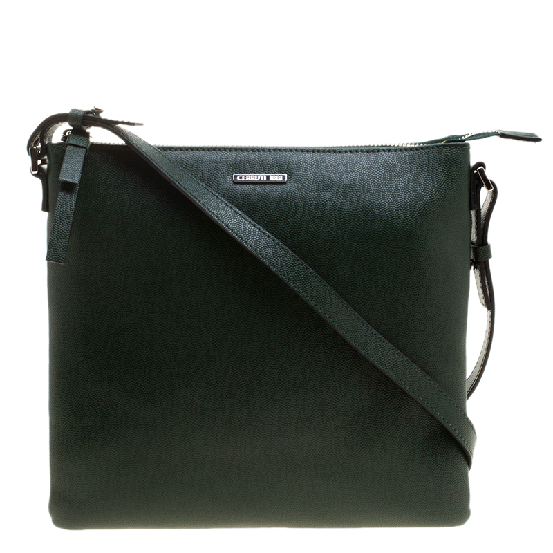 Buy Cerruti 1881 Green Leather Cerrutis Crossbody Bag 128905 at best ... 1ec2f288b4