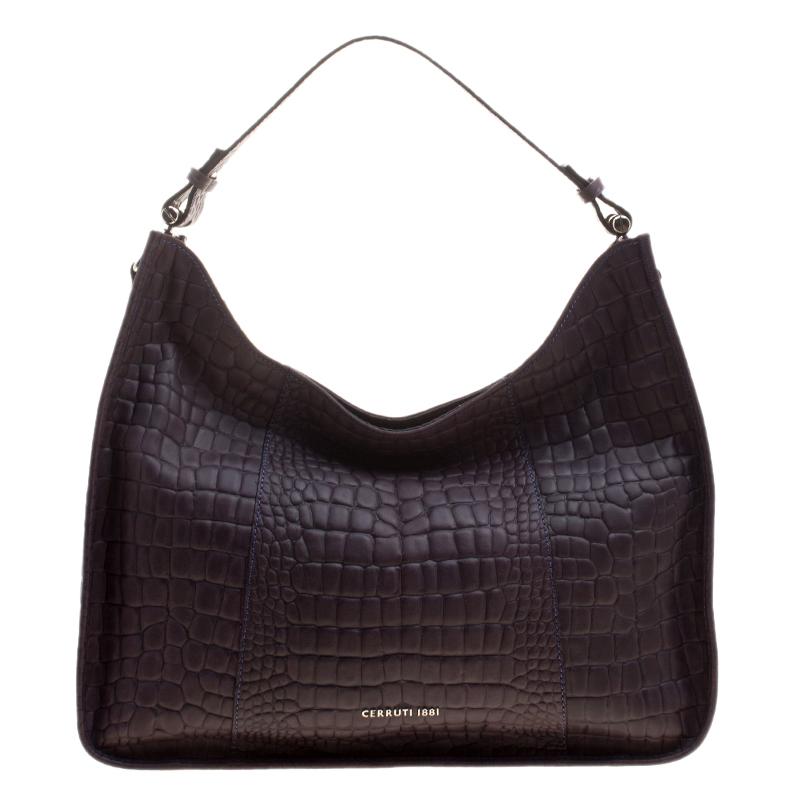 Cerruti 1881 Purple Croc Embossed Leather Alison Hobo