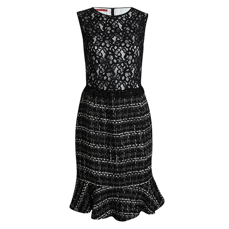 CH Carolina Herrera Monochrome Lace and Tweed Sleeveless Dress L
