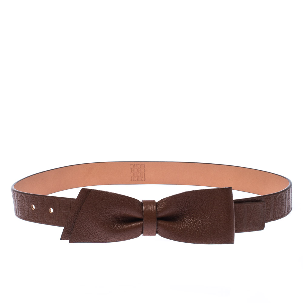Carolina Herrera Brown Leather Bow Belt 80CM