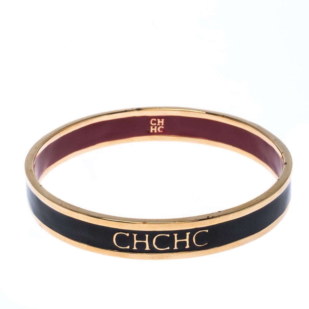 Carolina Herrera CH Logo Enamel Gold Tone Narrow Bangle Bracelet