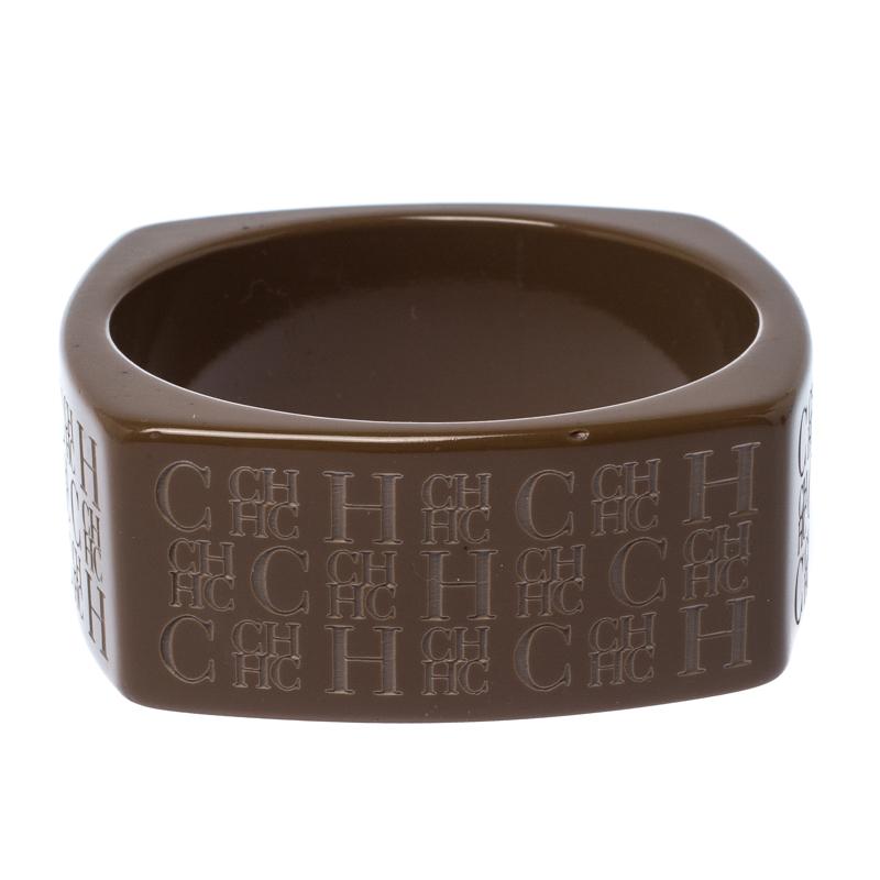 CH Carolina Herrera Textured Brown Extra Wide Bangle Bracelet