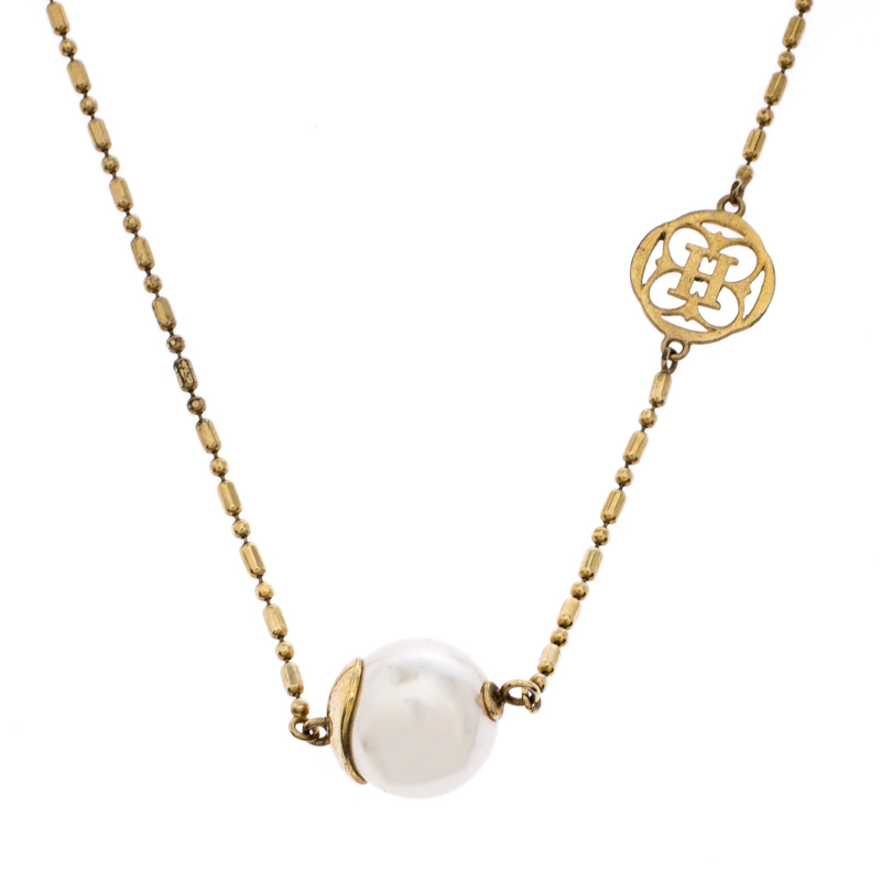 CH Carolina Herrera Faux Pearl Gold Tone Station Necklace