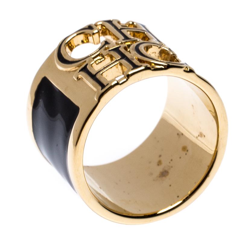 CH Carolina Herrera Logo Black Enamel Gold Tone Wide Band Ring Size 56