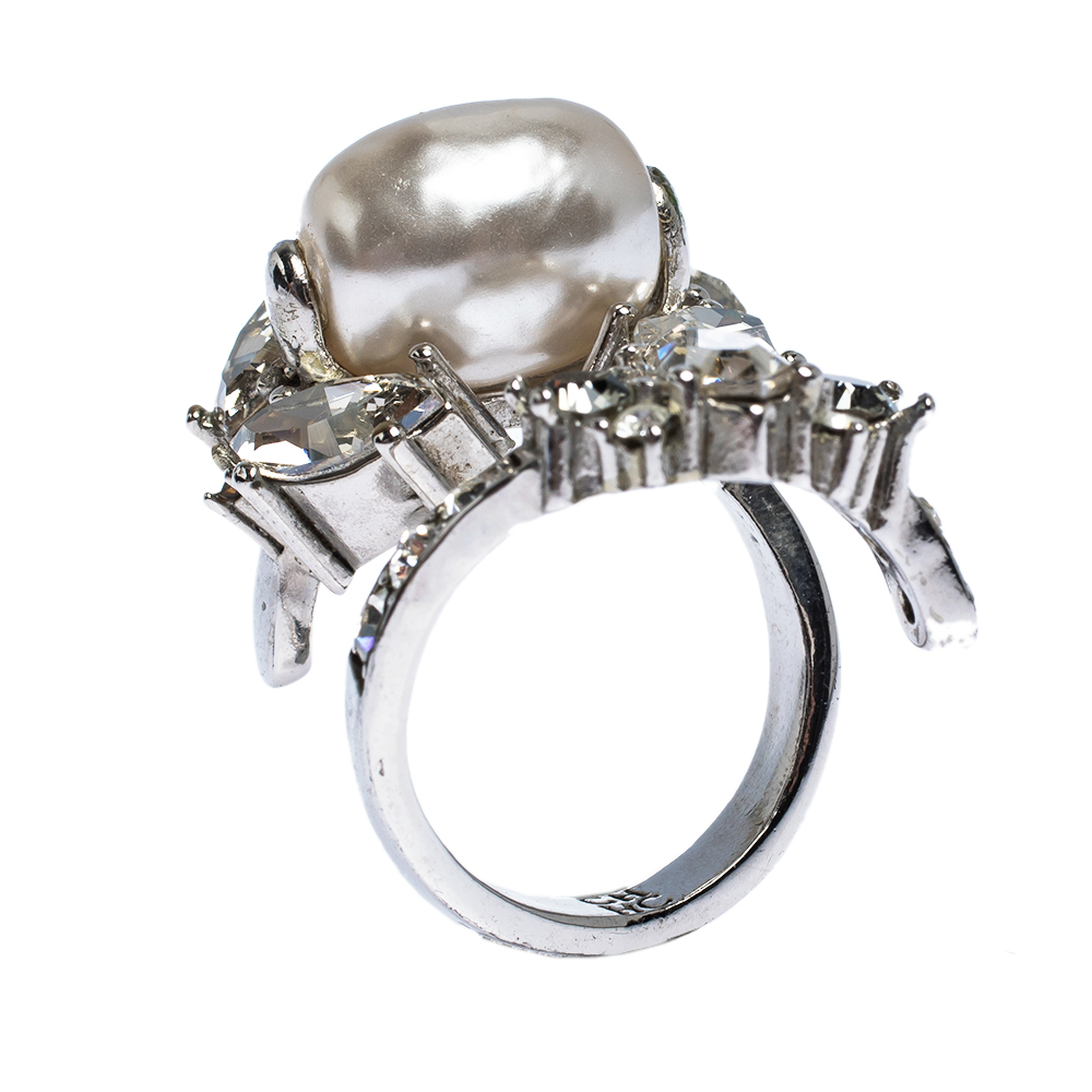 CH Carolina Herrera Crystal Faux Pearl Silver Tone Bypass Ring Size 56