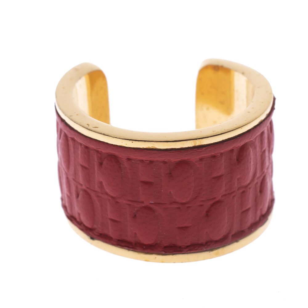 CH Carolina Herrera Red Leather Gold Tone Open Ring Size 57