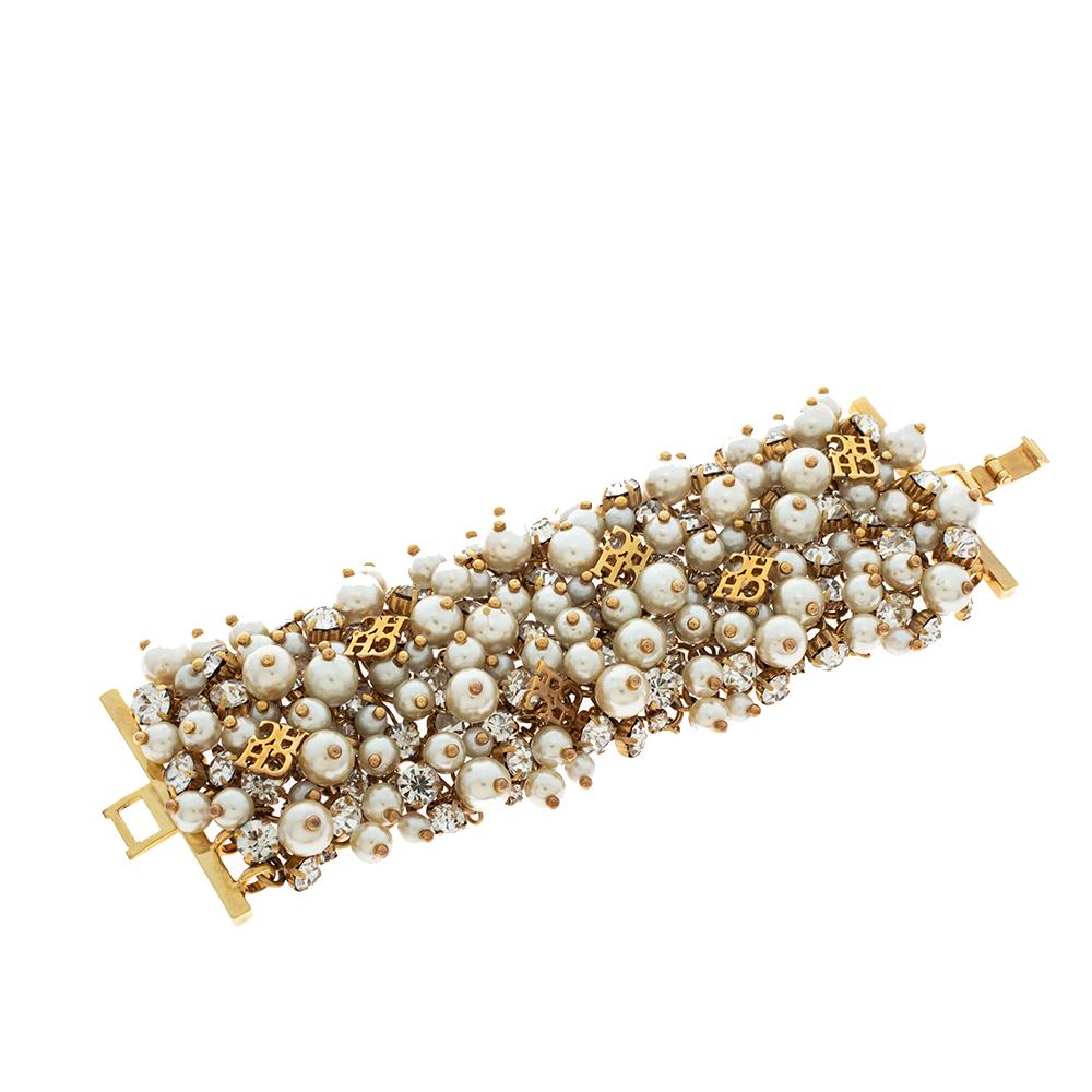 CH Carolina Herrera Crystal Faux Pearl Gold Tone Wide Bracelet