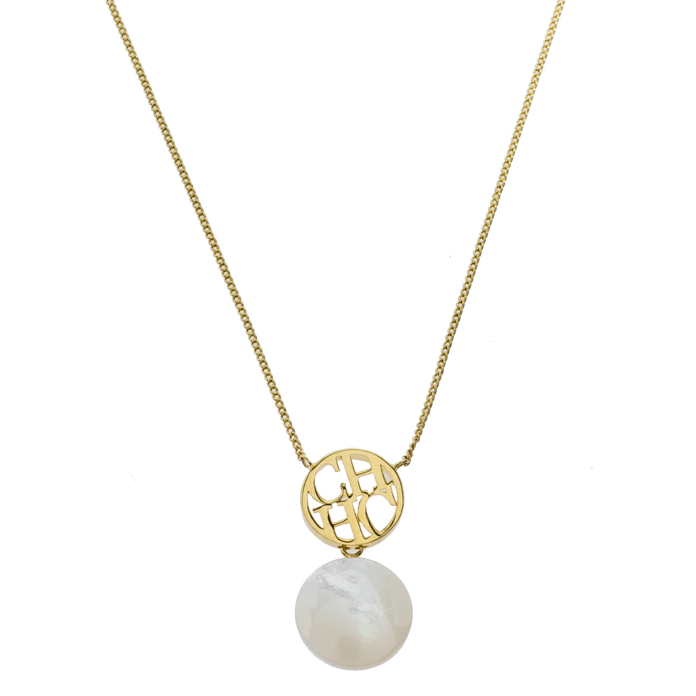 Carolina Herrera Gold Tone Mother of Pearl CH Moon Necklace