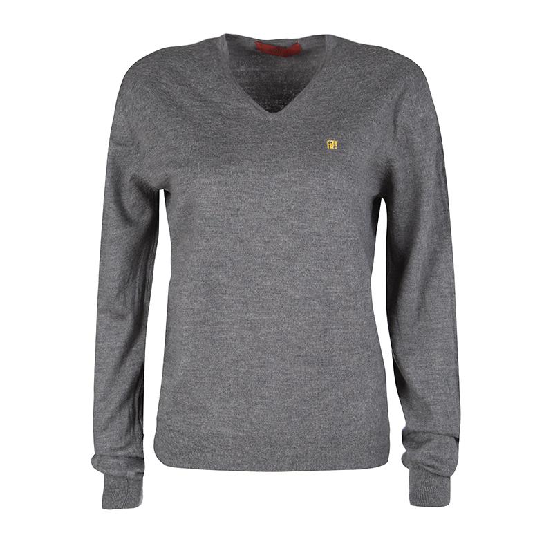 d6c1614f82b00 ... CH Carolina Herrera Grey Wool Logo Embroidered V-Neck Sweater M.  nextprev. prevnext