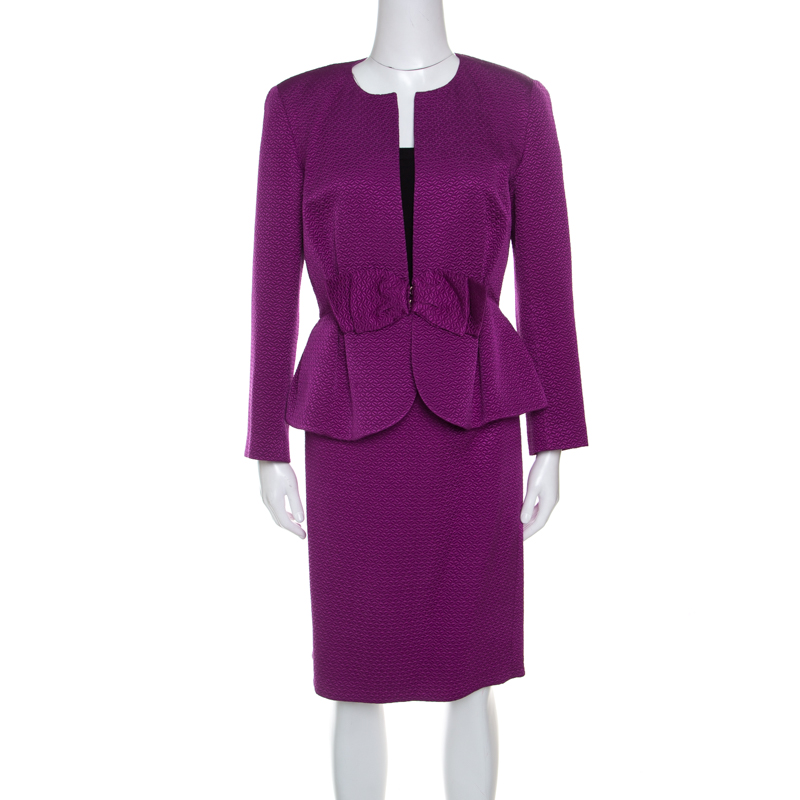 Купить со скидкой CH Carolina Herrera Purple Jacquard Bow Detail Skirt Suit M
