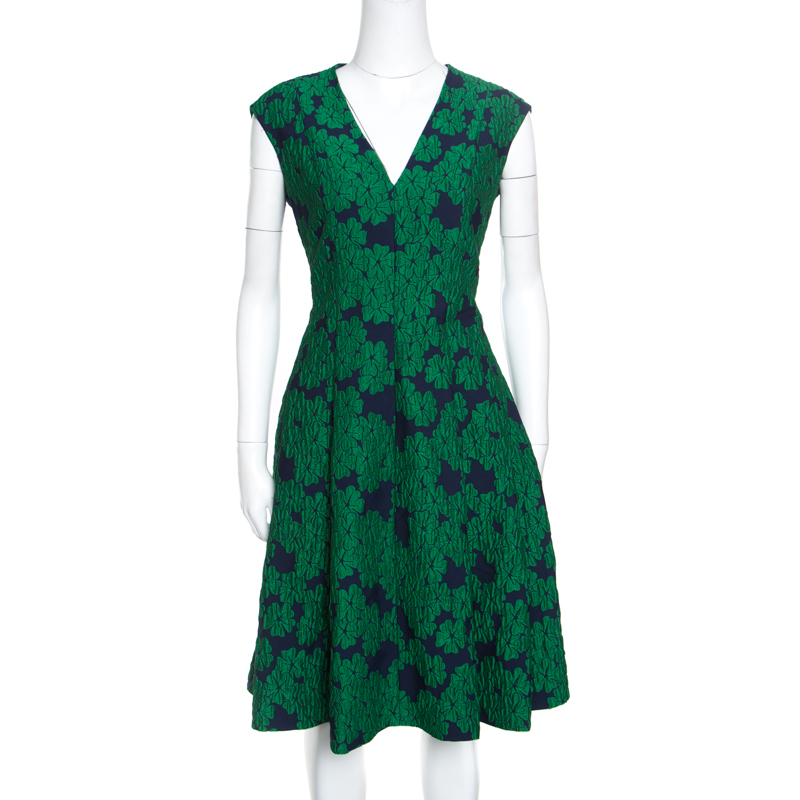 CH Carolina Herrera Green Brocade Fit and Flare Sleeveless Dress L