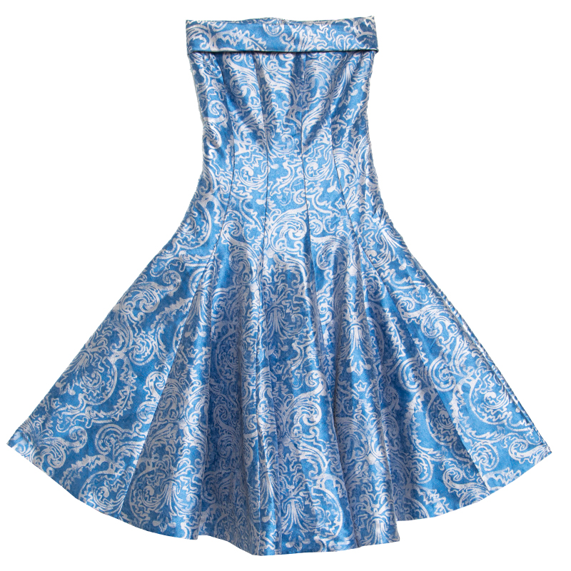 Ch Carolina Herrera Blue Fl Brocade Strapless Fit And Flare Dress Xs