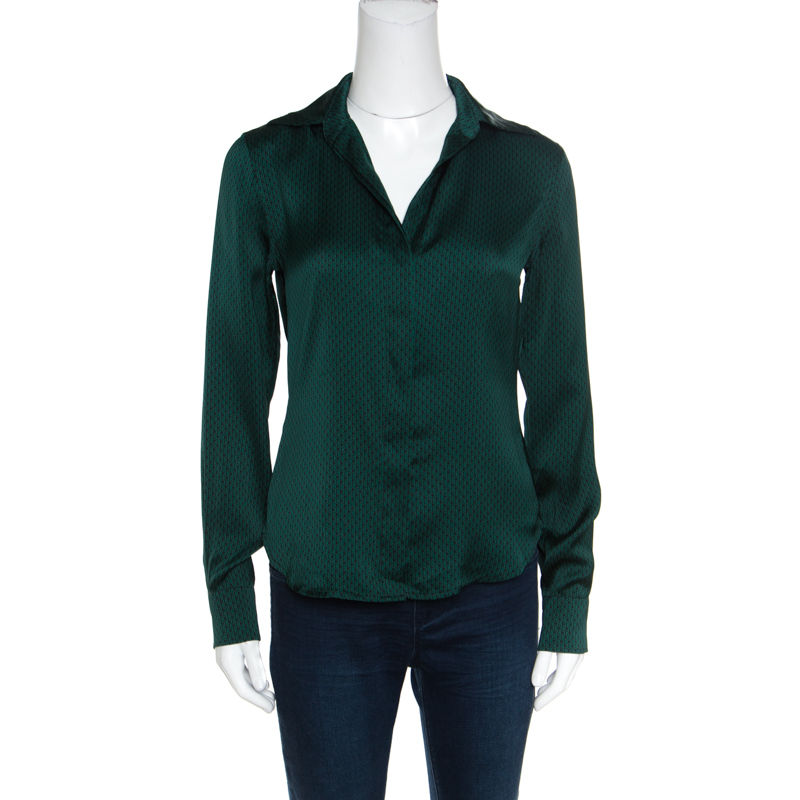 CH Carolina Herrera Black and Green Logo Printed Satin Long Sleeve Shirt S