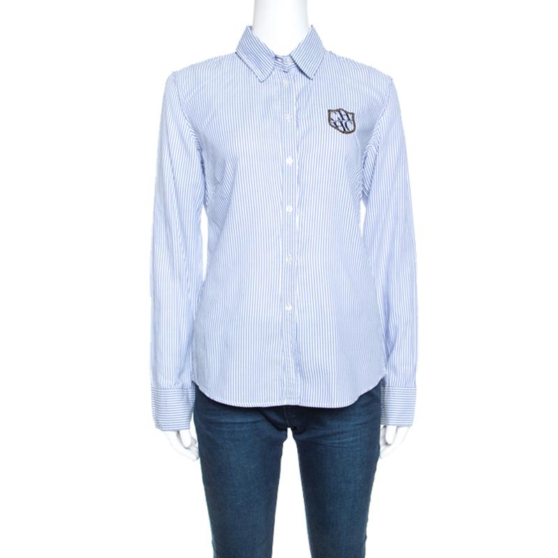 Carolina Herrera Blue Striped Cotton Crest Embroidered Button Front Oxford Shirt M