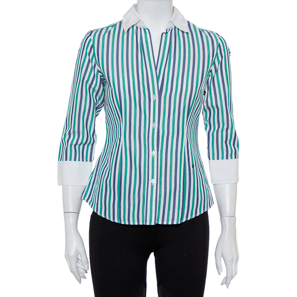 قميص سي أتش كارولينا هيريرا أزرار أمامية قطن مقلم متعدد الألوان مقاس صغير (سمول)