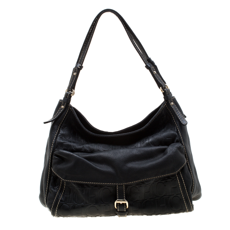 Carolina Herrera Black Monogram Leather Shoulder Bag