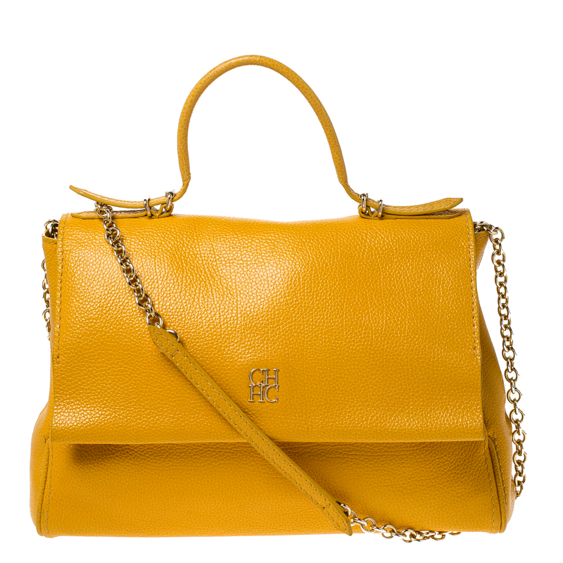 Carolina Herrera Yellow Leather Minueto Flap Bag